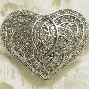 Massive Sterling 💖 Heart & Pave💎 CZ 💍Ring Sx 6